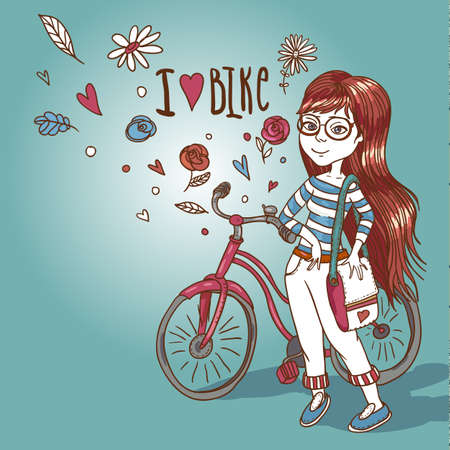 pretty girl with bicycle Vector