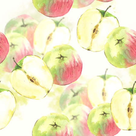 SeamSeamless background with watercolor apples photo