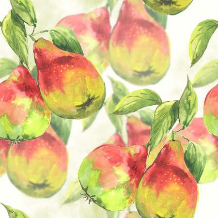 pear tree: Watercolor pears