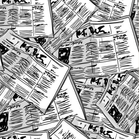 oude krant: Krant monochroom vintage naadloze achtergrond Stock Illustratie