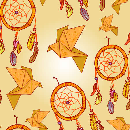 Seamless background with origami and dream catchers Vector
