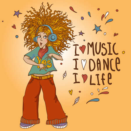 redhead woman: Beautiful Young Redhead Girl in headphones