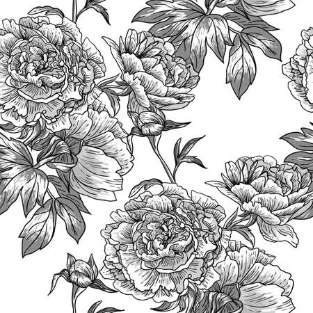 floral ornaments: Monochrome seamless pattern