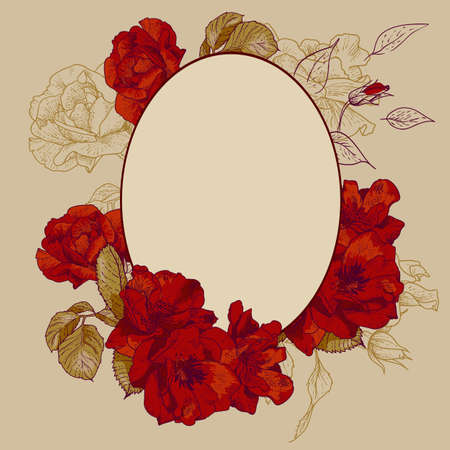 Vintage roses oval frame with space for your text Vector