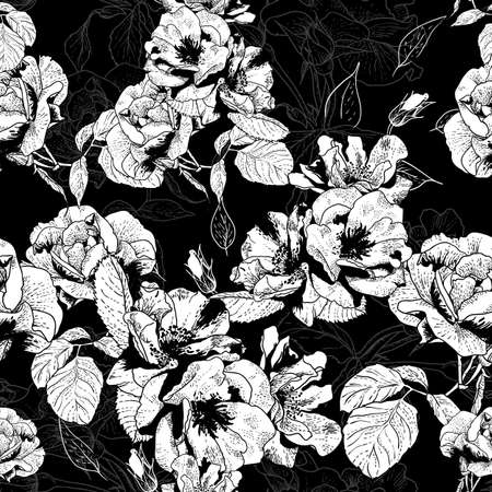 white rose: Monochrome seamless pattern