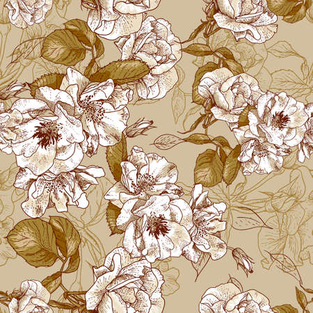 seamless  rose pink background design pattern - Romantic style Illustration