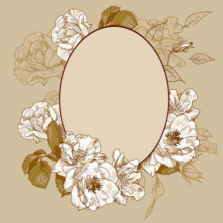Vintage roses oval frame with space for your text
