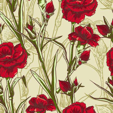 Seamless floral background with carnation Vector