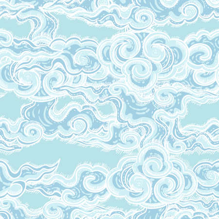 etching pattern: seamless pattern with waves Illustration