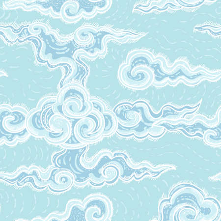 wind surfing: seamless pattern with waves Illustration