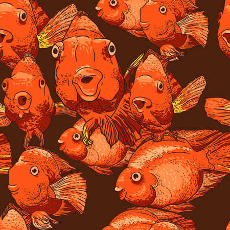 carp: Seamless background with fish Illustration