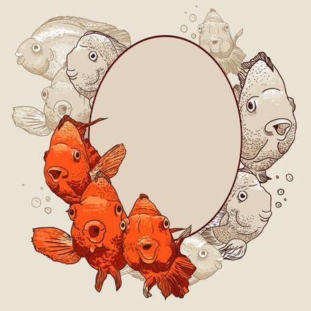 Ornamental frame with fish Illustration