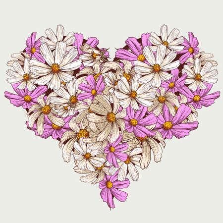 Summer Valentine garden flowers  heart