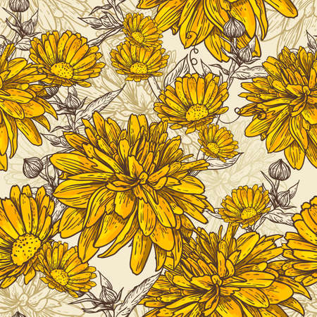 Floral seamless pattern with blooming flowers Illustration