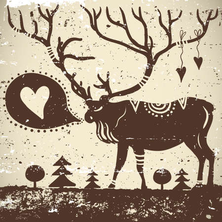 Wild animal  grungy background Deer Vector