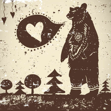 Wild animal background Bear on a grunge background with a heart Vector