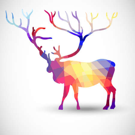 Silhouette of a deer of geometric shapes Vector
