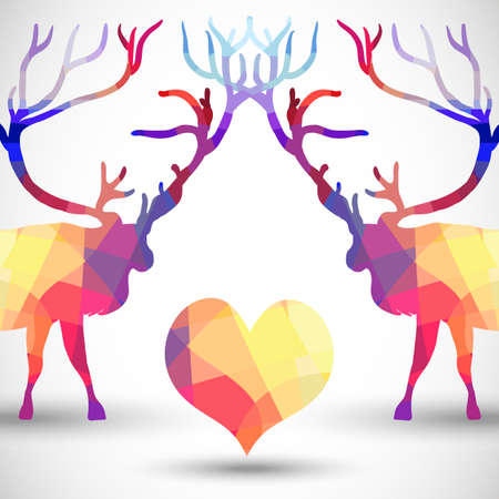 deer in heart: Silhouette a deer of geometric shapes with heart