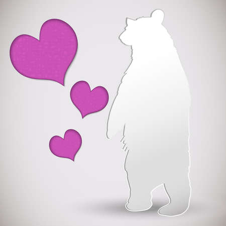 Vector paper cut greeting card with bear and heart Stock Vector - 21423280