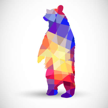 Silhouette a bear of geometric shapes Illustration