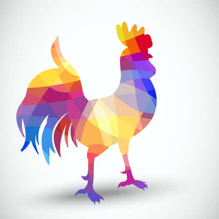 Abstract rooster of geometric shapes