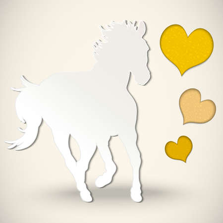 Vector paper cut greeting card with  horse and hearts Vector