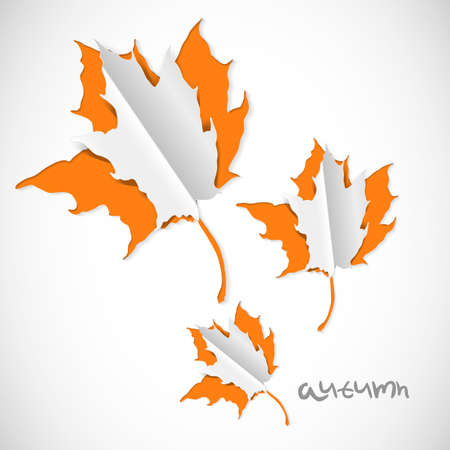 Autumn paper cut background with leaves Vector