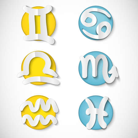 Paper cut zodiac set icon Vector