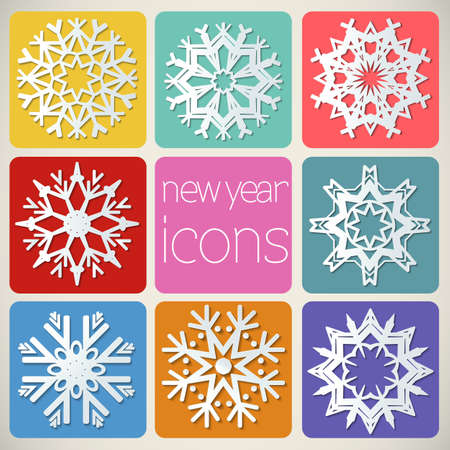 New Year Icons Set with snowflakes Stock Vector - 21423458