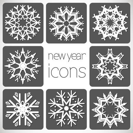 New Year Monochrome Icons Set with snowflakes  Stock Vector - 21423494