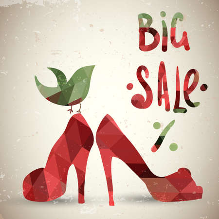 shoes off: Stylish background with geometric shoes  Sale  background Illustration