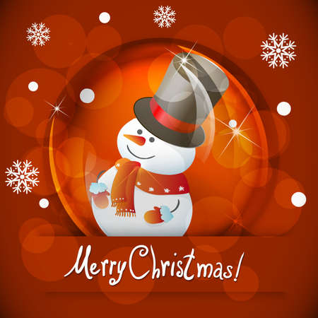 Christmas  snow globe with snowman Vector
