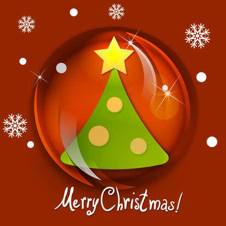 Snow globe with Christmas Tree Stock Vector - 21423502
