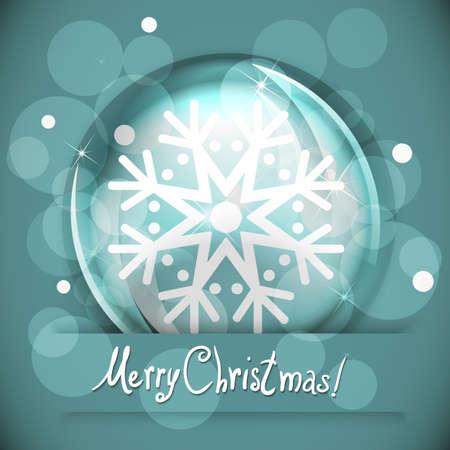 christmas snow globe: Christmas Snow globe with snowflake