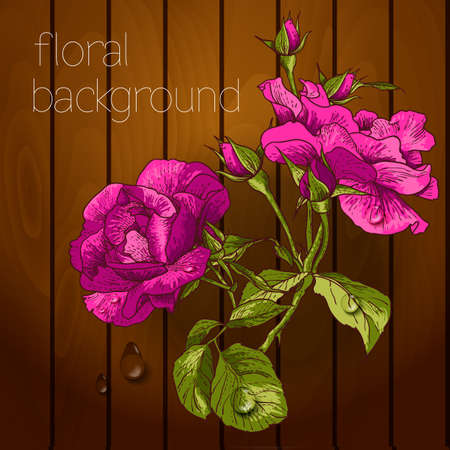 Beautiful flowers on a wooden texture. Vector illustration. Vector
