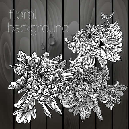 Beautiful flowers on a wooden texture, black white Vector