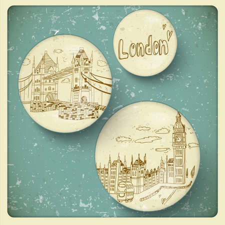 London doodles drawing landscape in vintage style Stock Vector - 21691019