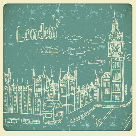 London doodles drawing landscape in vintage style Stock Vector - 21691020