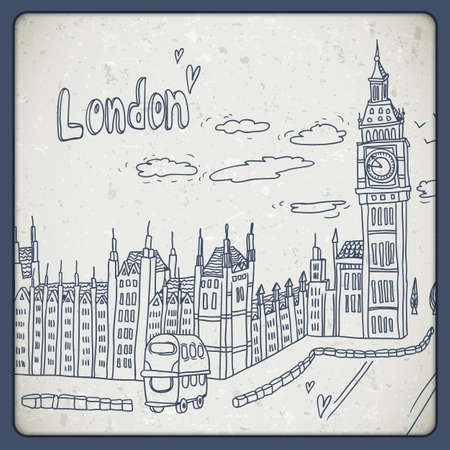 big ben tower: London doodles drawing landscape in vintage style Illustration