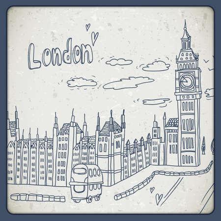 zeichnen: London Doodles Zeichnung Landschaft im Vintage-Stil