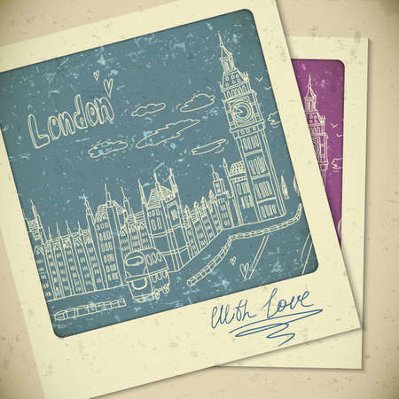 london tower bridge: London doodles drawing landscape in vintage style Illustration