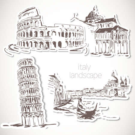 Italy  hand drawn landscape in vintage style Stock Vector - 21691024