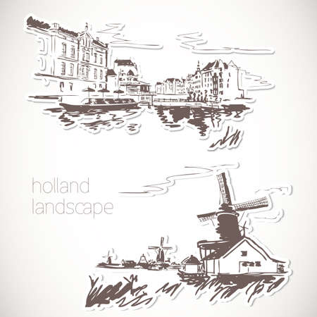 canal street: Holland hand drawn landscape in vintage style