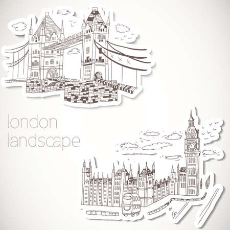 London hand-drawn landscape in vintage style
