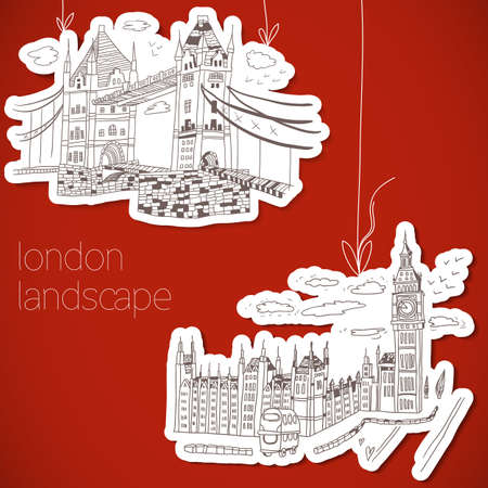 London hand-drawn landscape in vintage style Vector