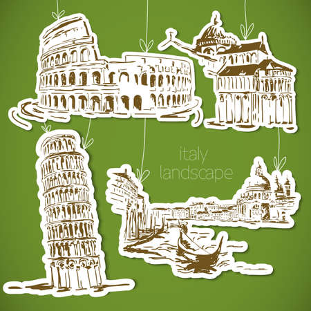 italy landscape: Italy  hand drawn landscape in vintage style