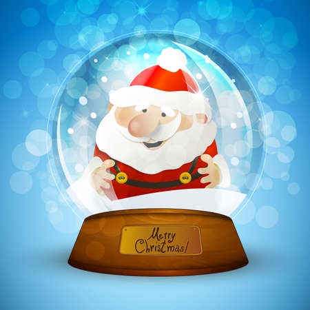 Christmas snow globe with Santa Claus Vector