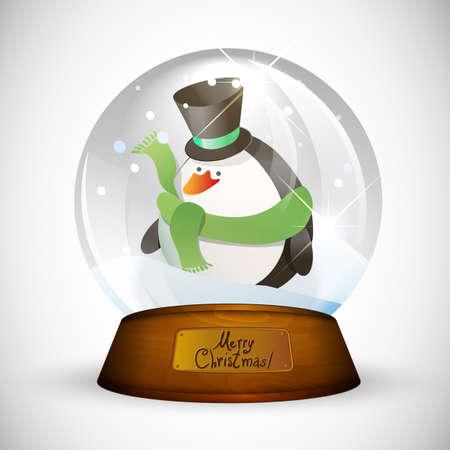 boule de neige: Noël globe de neige avec des manchots