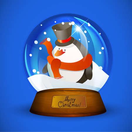 christal: Christmas snow globe with penguin