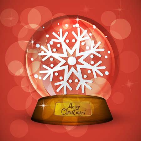 Christmas Snow globe with snowflake Vector